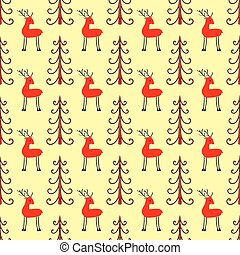 Deer in the forest seamless pattern
