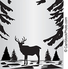 Deer in the woods - Vector illustration of a deer in the ...