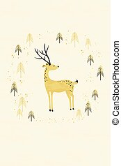 Deer in winter pine forest card