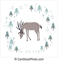Deer in winter pine forest isolated on white.
