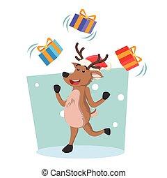 deer juggling christmas box