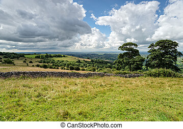 The view from Deer Leap an area of outstanding natural beauty in the Mendip Hills in Somerset