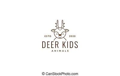 deer line smile head face cute cartoon logo vector  illustration