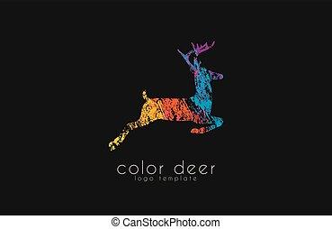 Deer logo design. Color deer. Animal logo.
