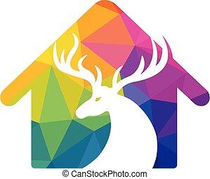 Deer Logo Design. - Deer Logo Design in shape of home. deer ...