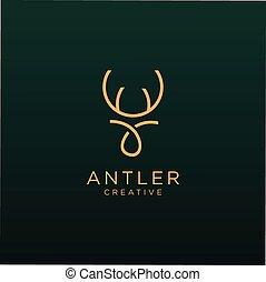 Deer Logo Linear template. Horns, antelopes, elk, antler, moose, Cervinae,muntjac, fallow deer, chital, Capreolinae, reindeer, chevrotains, Ruminantia And deer Line Logo Design Illustration.