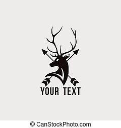 Deer Logo with Arrow Vector Design Template