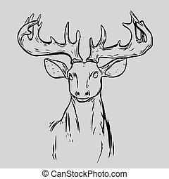 Deer Head Animal Symbol.