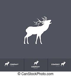 Deer Mascot - Simple Roaring Horned Deer Silhouette for...