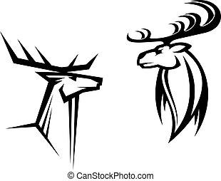 Deer mascots - Wild deers with big antlers for mascot,...