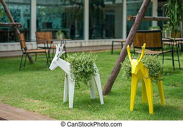 deer model in the little garden