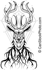 Deer modern tattoo design