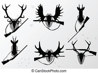 Deer, moose and doe horns hunting trophy and hunting rifles