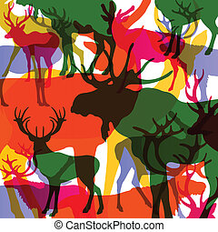 Deer, moose and mountain sheep horned animals abstract...