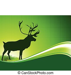 Deer on Abstract Green Background