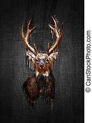 Deer on dark background. Paint effect - Portrait red deer on...