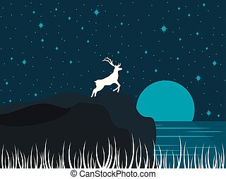 Deer on the shore of the lake. Night river landscape with a full moon. Night starry sky. Vector illustration