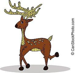 Deer on white background.