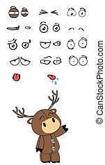 deer plush cartoon expressions