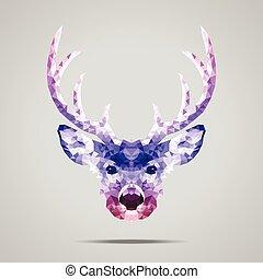 Deer poly gradient purple - Deer low poly portrait....