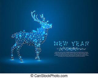 Deer. Polygonal space low poly with connecting dots and lines. Holiday reindeer wireframe concept. Connection structure. Vector on dark blue background