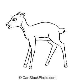 Deer Rat Cartoon - Line Drawn Vector