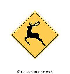 Deer Road Sign Warning