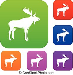 Deer set color collection