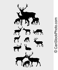 Deer Set Silhouettes