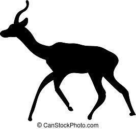 Deer silhouette - running silhouette of a deer