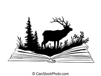 Deer silhouette in the open book