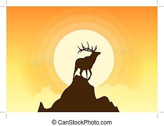 Deer Silhouette Vector Sunset
