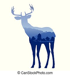 Deer silhouette with double exposure effect with mountain...