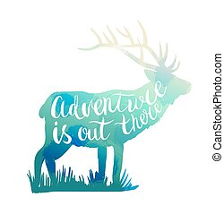 Deer silhouette with hand-drawn lettering