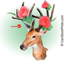 Deer silhouette with horns made of flowers on the green background. Red roses on the horns. March, summer, spring holiday design for invitation and wedding greeting cards. Deer Antlers with Flowers