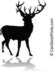 deer silhouette with shadow vector illustration isolated on white