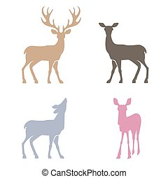 Deer silhouettes set.