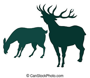 Deer silhoutte - Illustration on wildlife