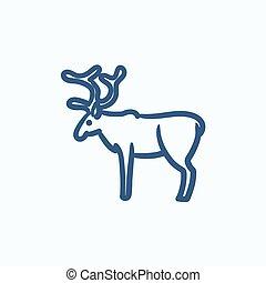 Deer sketch icon.