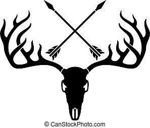 Deer skull and crossed arrows.eps