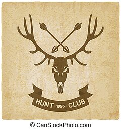 deer skull silhouette old background. hunting club design -...