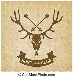 deer skull silhouette old background. hunting club design -...