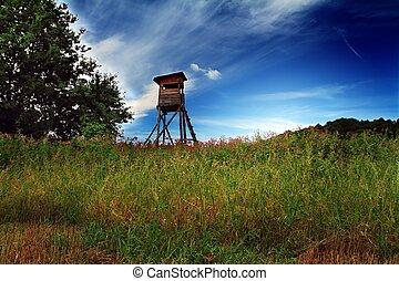 Deer-stand landscape with blue sky.