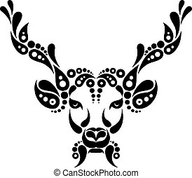 Deer tattoo, symbol decoration illustration. Pattern in shape of deer