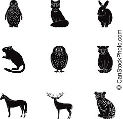 Deer, tiger, cow, cat, rooster, owl and other animal species.Animals set collection icons in black style vector symbol stock illustration web.
