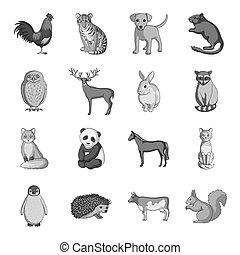 Deer, tiger, cow, cat, rooster, owl and other animal species.Animals set collection icons in monochrome style vector symbol stock illustration web.