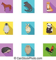 Deer, tiger, cow, cat, rooster, owl and other animal species.Animals set collection icons in flat style vector symbol stock illustration web.