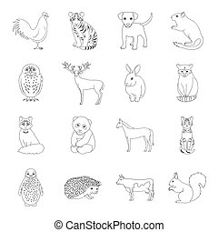 Deer, tiger, cow, cat, rooster, owl and other animal species.Animals set collection icons in line style vector symbol stock illustration web.