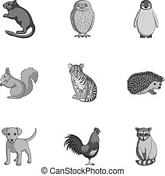 Deer, tiger, cow, cat, rooster, owl and other animal species.Animals set collection icons in outline style vector symbol stock illustration web.
