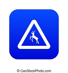 Deer traffic warning sign icon digital blue